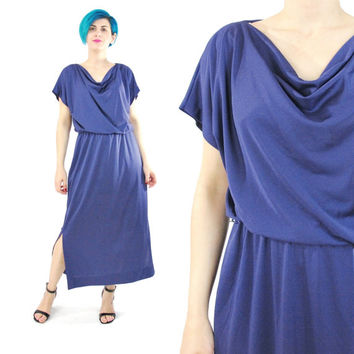 70s Diane Von Furstenberg Dress Purple Jersey Dress Draped Cowl Neck Dress Short Sleeve Elastic Waist Disco Day Dress Vintage Designer (S/M)