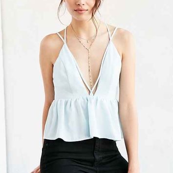 Silence + Noise Plunging Cross-Front Babydoll Cami