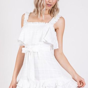 Sleeveless Ruffle Tie Waist Dress - Off White