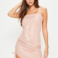 Missguided - Pink Square Neck Ruched Side Bodycon Dress