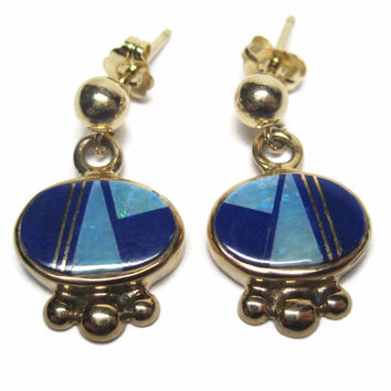 Vintage 14K Lapis Opal Earrings Navajo Inlaid Yellow Gold