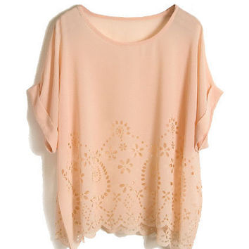 Cut-out Detailing Pink Blouse [NCSHU0027] - $23.99 :