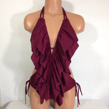 Wine Low cut ruffle monokini