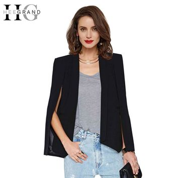 Women Fashion Split Sleeve Autumn Blazer Black  Lapel Casual Tops Cape Suit Workwear Women's Blazers