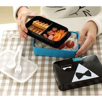 New 730ML Tie Lunch Box Bento Box For Girls Lady Children Sushi Lunchbox Food Container With Dinnerware Microwave Applicable