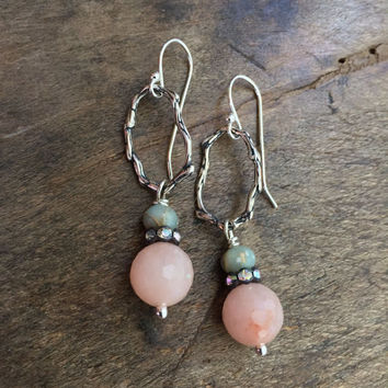 Pink Rose Quartz Earrings, Rustic Sterling Silver, Beach Boho, Beaded Jewelry by Two Silver Sisters