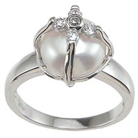 Rhodium Finish Sterling Silver Faux Pearl Pave Cubic Zirconia Anniversary Ring | Overstock.com Shopping - The Best Deals on Sterling Silver Rings