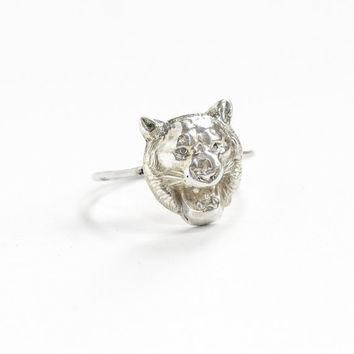Antique Sterling Silver Lion Motif Ring - Art Deco Era 1920s Figural Wild Cat Animal S