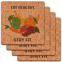 Eat Healthy Stay Fit Fruits Vegetables Diet Low Profile Cork Coaster Set