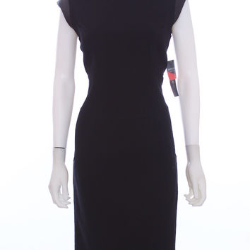 LAFAYETTE 148 NEW YORK Virgin Wool Leather Sleeves New With Tags Black Dress Size 4