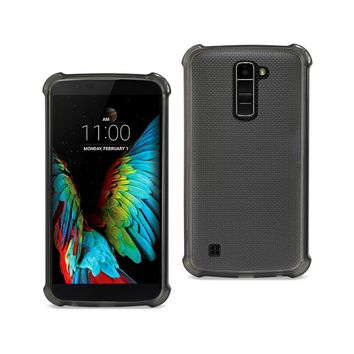 LG K10 Clear Bumper Case With Air Cushion Protection (Clear Black)