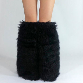Black Fluffies *above-the-knee* FREE SHIPPING: Fur Leg Warmers, Fur Boot Covers, Black Rave Fluffies, Black Fluffies, Black Boot Covers