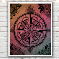 Voyager - PAPER PRINT, compass rose, wanderlust poster, boho chic decor,  travel themed wall art, compass rose print, sunset