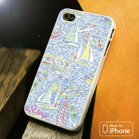 LILLY PULITZER SAILBOAT ART iPhone 4(S),5(S),5C,SE,6(S),6(S) Plus Case