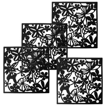 Fashion 4 Pcs Butterfly Bird Flower Hanging Screen Partition Divider Panel Room Curtain Home Decor Black White Red 3colorsoption