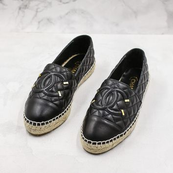 Fashion Brand Chain Women Casual Black Leather Espadrilles Loafers Flats Shoes - Best Deal Online