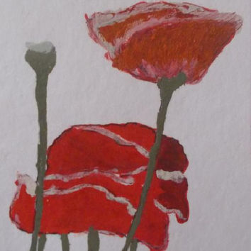 poppy  Aceo Original Acrylic Painting Red poppy Art  Pink painting  Kids Gift  aceo size 6.40 / 8.96 cm / .2.5 x 3.5 Inch