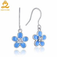 2017 Fine Blue Flowers Earrings for Women 925 Sterling Silver White Gemstones Earrings New Statement Jewelry for Women Gift