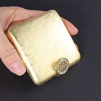 Vintage Compact Mirror, Brushed Gold, Purse Accessories Powder Puff compact, Avon Imperial