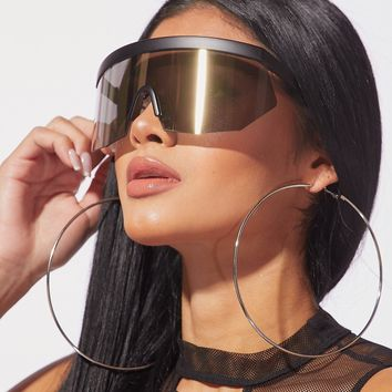 Act Up Reflective Shiled Sunnies Black