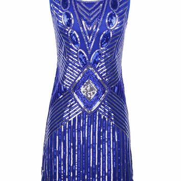 PrettyGuide Women 1920s Gatsby Sequin Art Deco Scalloped Hem Deep V Back Inspired Flapper Dress Roaring 20s