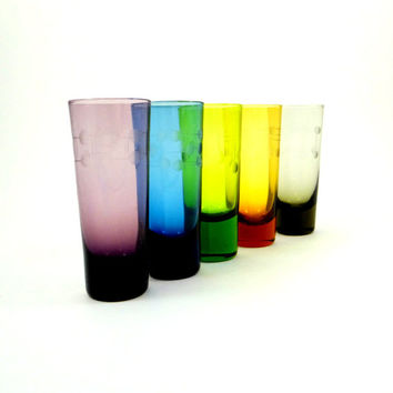 Vintage Colored Shot Glasses with Etched Glass