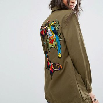 Glamorous Military Shirt Jacket With Embroidered Back Detail at asos.com