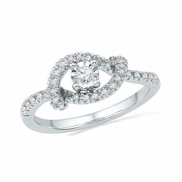 10kt White Gold Women's Round Diamond Cradle Solitaire Promise Bridal Ring 1-4 Cttw - FREE Shipping (US/CAN)