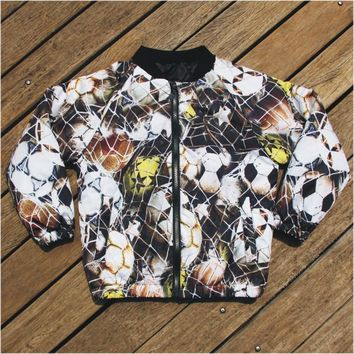 boy jacket football 2017 New Children coat football Print Kids warm Jackets Autumn Winter Baby coat Boys Clothing Outerwear