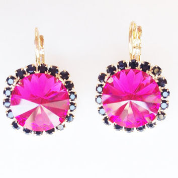 Pink and Black Crystal Stud earrings - rhinestones posts - 24k gold plated