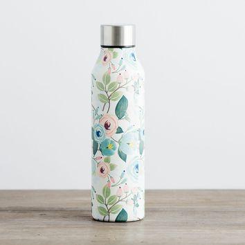 Floral Stainless Steel Water Bottle - Peach