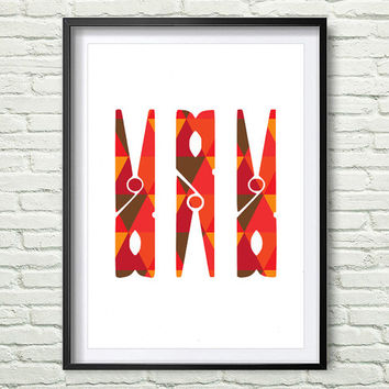Pink and Red Clothespin Print, Magenta and Mustard Geometric Laundry Room, Geometric Pattern Clothespin Laundry Room Print *158*