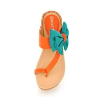New Arrival Korea Colorful Bowknot Sandals Orange, Buy New Arrival Korea Colorful Bowknot Sandals Orange with cheapest price|wholesale-dress.net