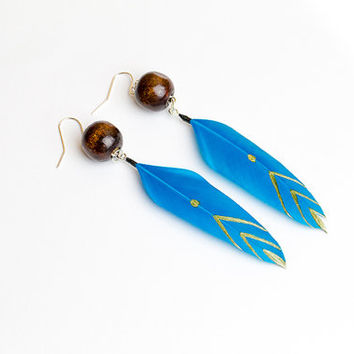 Chevron earring Turquoise earring Feather jewelry Blue earring Ethnic jewelry Tribal earring Boho Summer earring Chevron Native american