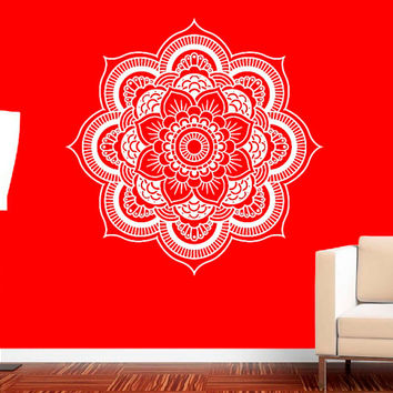 Wall Decal Vinyl Sticker Decals Art Decor Design Mandala Ornament Indidan Geometric Moroccan Pattern Style Yoga Modern Bedroom (r587)