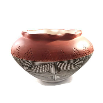 Native American Olla, Watering Bowl, Acoma Pueblo Pottery Geometric Design, Grace Chino