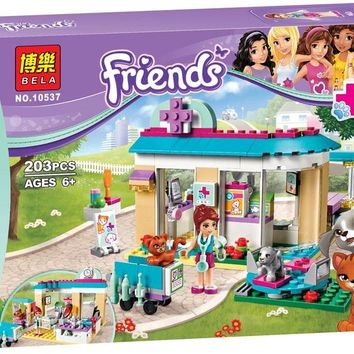 Vet Clinic 203pcs Friends Series Set Emma Stephanie Mia Olivia Andrea Building Block Toy Girls 41085 Compatible With Lego