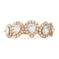18k Rose Gold Pear & Pave Diamond Ring, Size 7