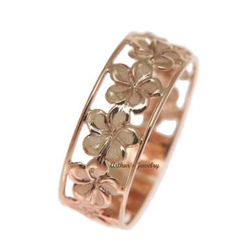 SOLID 14K PINK ROSE GOLD HAWAIIAN FANCY PLUMERIA FLOWER 6.5MM LEI RING