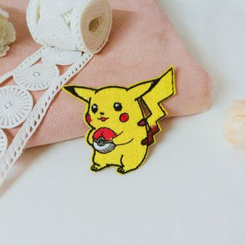 Pikachu patch /Pokemon  patch /cool badge /iron on patch/sew on patch/embroidered patch/patch for jacket/applique
