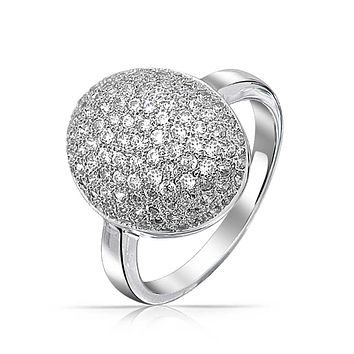 Oval Pave Dome AAA CZ Prom Pageant Ring Silver Plated Brass