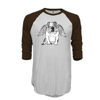 English Bulldog angel Unisex raglan tshirt 3/4 sleeve