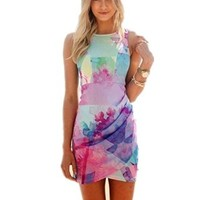 Women Sleeveless Floral Print Bodycon Dress
