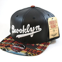 MLB Brooklyn Dodgers Faux Leather and Native Print Snapback Cap by American Needle