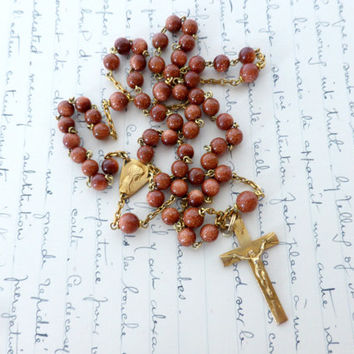 Vintage French Aventurine Rosary