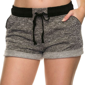 French Terry Jogger Shorts - Black