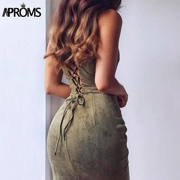 Aproms Sexy Backless Lace Up Suede Dress Women Sundresses Spring 2017 Sleeveless Slim Bodycon Club Wear Dresses robe femme 11036
