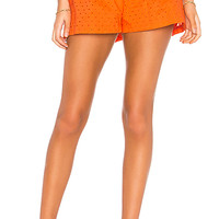 MDS Stripes Pleated Short in Orange Eyelet | REVOLVE