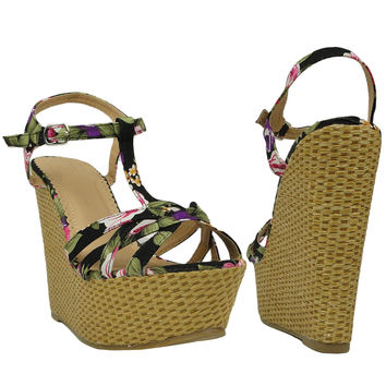 Womens Platform Sandals Weaved Wedge Floral Straps Ankle Strap Black SZ