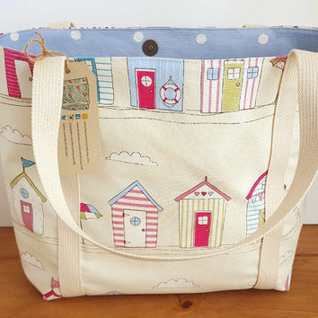 Tote Bag, Knitting Bag. Overnight Bag, Over the Shoulder Bag, Lined Beach Tote, Holiday Essential Bag, Beach Hut Fabric Handbag
